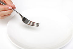Fork with empty dish Royalty Free Stock Photos