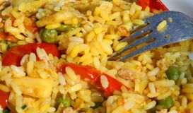 Fork with excellent rice valenciana and paella Royalty Free Stock Image