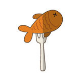 Fork with fish meat isolated icon. Illustration design Stock Images