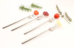 Fork and food Stock Images