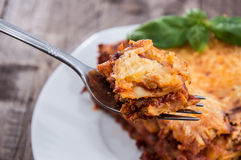 Fork with fresh made Lasagne Royalty Free Stock Photography