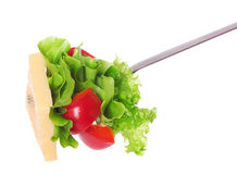 Fork with fresh salad. Stock Photo