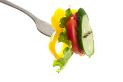 Fork with fresh vegetables Stock Photo