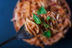 Fork full of twirled italian spaghetti with a bolognese meat sauce and basil over a plate of pasta with tomato sauce. Fork full of twirled italian spaghetti royalty free stock images