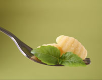 Fork and gnocchi Royalty Free Stock Photo
