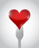 Fork and heart illustration design Stock Image