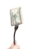 Fork with hundred dollar bill close up Royalty Free Stock Photos