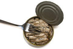 Fork on  iron bank with sprats Royalty Free Stock Photo