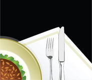 Fork with the knife. Illustration of plate with the food and fork with the knife Royalty Free Stock Photography