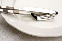 Fork and knife. On white Stock Image