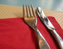 Fork and knife. In a casual restaurant Royalty Free Stock Photography