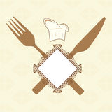 Fork, knife and banner. Fork, knife, banner and chef hat Royalty Free Stock Image