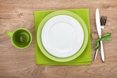 Fork with knife, blank plates and napkin royalty free stock photo
