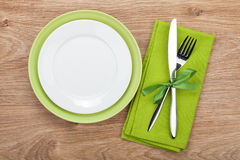 Fork with knife, blank plates and napkin Stock Image