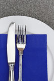 Fork, Knife, Napkin and Plate Royalty Free Stock Photos