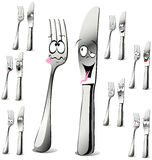 Fork and knife cartoon Royalty Free Stock Images