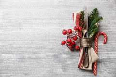 Fork and knife with christmas fir branch Royalty Free Stock Photos