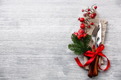 Fork and knife with christmas fir branch Royalty Free Stock Photo