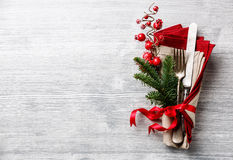 Fork and knife with christmas fir branch Stock Images