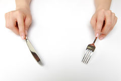 Fork and a knife Stock Images