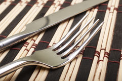 Fork and knife closeup Stock Photo