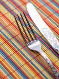 Fork & Knife. Colored Background Set Royalty Free Stock Photo