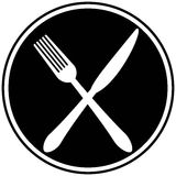 Fork and Knife Cross. A vector illustration of a Fork and Knife Cross royalty free illustration