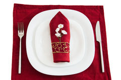Fork knife and dark red napkin Royalty Free Stock Images