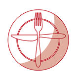 Fork and knife with dish cutlery Royalty Free Stock Image