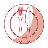 Fork and knife with dish cutlery Stock Photography