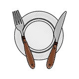 Fork and knife with dish cutlery Stock Images