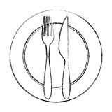 Fork and knife with dish cutlery Royalty Free Stock Photo