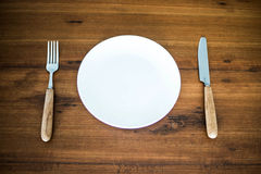 Fork,knife and dish Royalty Free Stock Images