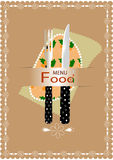 Fork and knife for eating. Fork and knife with the orange background flower pattern fabric Royalty Free Stock Images
