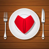Fork with knife and folded red napkin in heart shape on blank pl Royalty Free Stock Photography