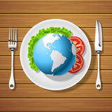 Fork with knife and globe on plate Stock Image