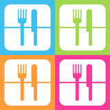 Fork and knife icon or sign, EPS10 Stock Image