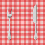 Fork and knife illustration. Fork and knife on a picnic tablecloth illustration Stock Photography