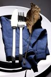 Fork and knife with leaf Royalty Free Stock Photography