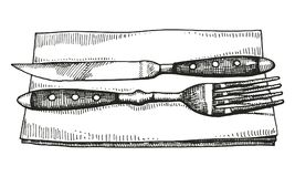 Fork and knife lie on a napkin. Hand drawing sketch vector Stock Photo