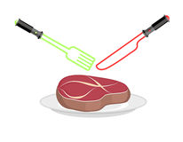 Fork and knife of light. Lightsaber as cutlery. Utensil futurist Royalty Free Stock Images