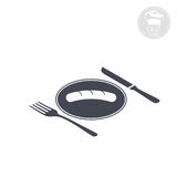 Fork and knife2. Fork and knife lying near plate, Vector computer graphics Royalty Free Stock Photos