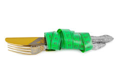 Fork knife and measuring tape Royalty Free Stock Photo
