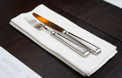 Fork, knife and napkin Royalty Free Stock Photo