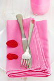 Fork and knife on napkin Royalty Free Stock Photography