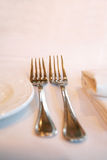 Fork, knife and napkin.  royalty free stock photos