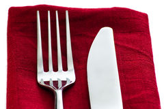 Fork and knife on napkin Stock Photo