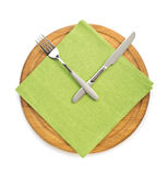 fork with knife at napkin cloth on white Royalty Free Stock Photos