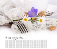 Fork and knife in a napkin, flower Royalty Free Stock Photo