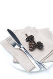 Fork, knife, napkin and pine cones on a plate Royalty Free Stock Photography